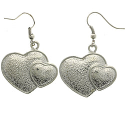 Mi Amore Heart Dangle-Earrings Silver-Tone