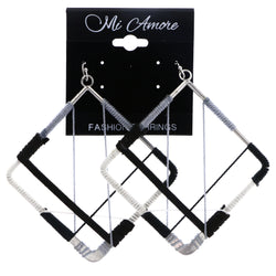 Mi Amore String Art Dangle-Earrings Silver-Tone/Black
