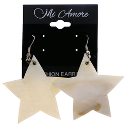 Mi Amore Star Dangle-Earrings White