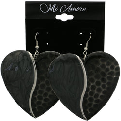 Mi Amore Heart Dangle-Earrings Silver-Tone/Black
