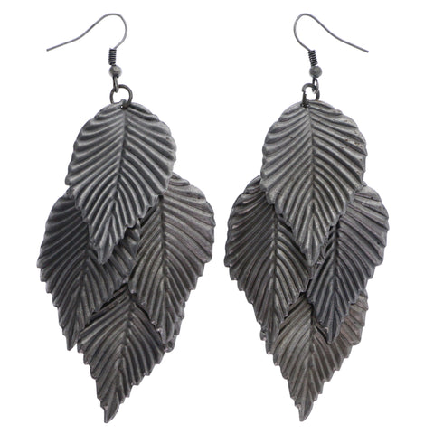 Mi Amore Antiqued Leaf Chandelier-Earrings Silver-Tone