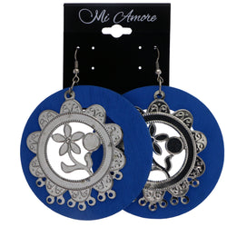 Mi Amore Flower Dangle-Earrings Blue/Silver-Tone