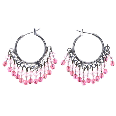 Mi Amore AB Finish Hoop-Earrings Silver-Tone/Pink
