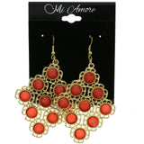 Mi Amore Flower Dangle-Earrings Gold-Tone/Red