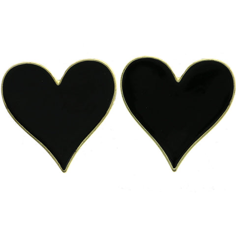 Mi Amore Heart Post-Earrings Gold-Tone/Black