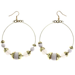 Mi Amore Antiqued Dangle-Earrings Gold-Tone/White