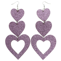 Mi Amore Heart Dangle-Earrings Pink