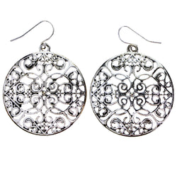 Mi Amore Filigree Heart Dangle-Earrings Silver-Tone