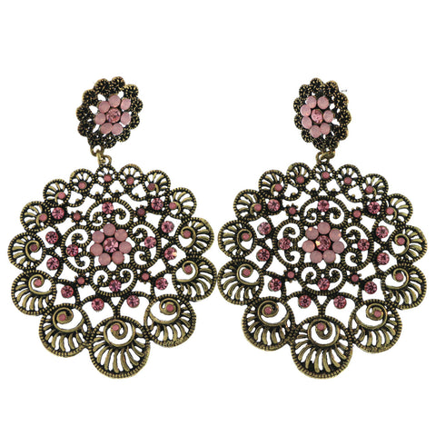 Gold-Tone Metal Dangle-Earrings With Pink Crystal Accents