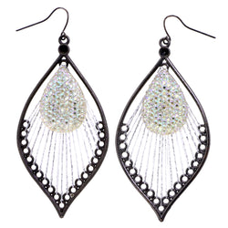 Mi Amore AB Finish Antiqued Dangle-Earrings Silver-Tone & Yellow