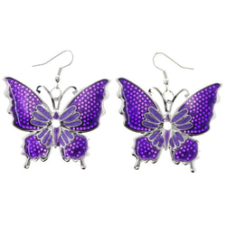 Mi Amore Butterfly Dangle-Earrings Purple/Silver-Tone