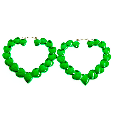 Mi Amore Heart Dangle-Earrings Green