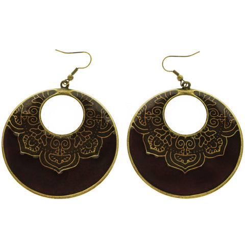 Mi Amore Dangle-Earrings Purple/Copper-Tone