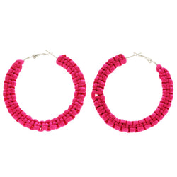 Mi Amore Hoop-Dangle-Earrings Pink & Silver-Tone