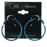 Blue Metal Hoop-Earrings