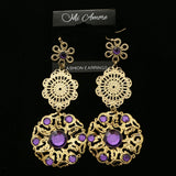 Mi Amore Purple Acrylic Crystals Dangle-Earrings Gold-Tone/Purple