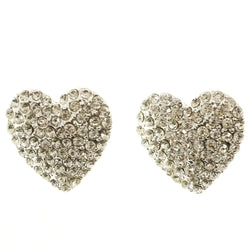 Mi Amore Heart Post-Earrings Silver-Tone