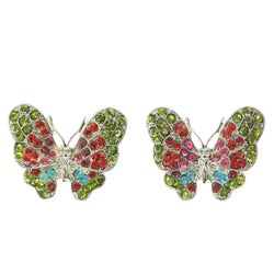 Mi Amore Assorted Color Crystal Accents Butterfly Post-Earrings Silver-Tone