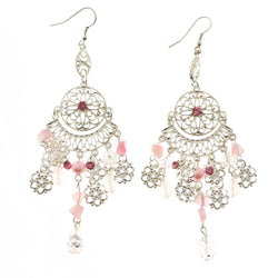Mi Amore Crystals Dangle-Earrings Silver-Tone/Pink