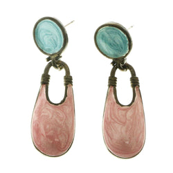 Mi Amore Antique Style Dangle-Earrings Silver-Tone/Pink