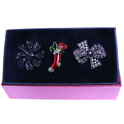 Mi Amore 1 pin 2 adjustable rings Christmas Holiday Stocking Floral Pin-Ring-Set Silver-Tone