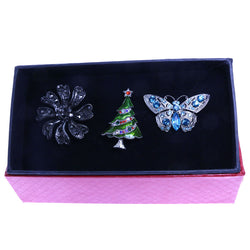 Mi Amore 1 pin 2 adjustable rings Christmas Tree Holiday Flower Butterfly Pin-Ring-Set Silver-Tone