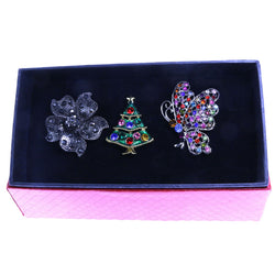 Mi Amore 1 pin 2 adjustable rings Christmas Tree Holiday Pin-Ring-Set Silver-Tone