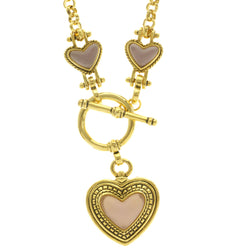 Mi Amore Heart Pendant-Necklace Gold-Tone/Purple