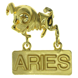 Zodiac Aries Brooch Pin Gold Color  #LQP105