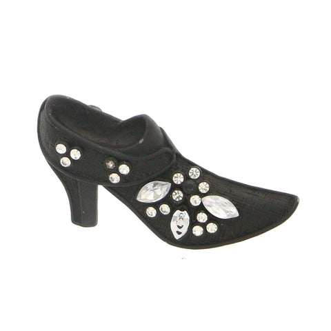 Shoe Brooch-Pin With Crystal Accents  Black Color #LQP1070
