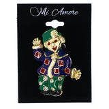 Happy Clown Flower Brooch-Pin w/Crystal Accents Colorful & Gold-Tone