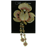 Mi Amore Flowers Brooch-Pin Gold-Tone/Pink