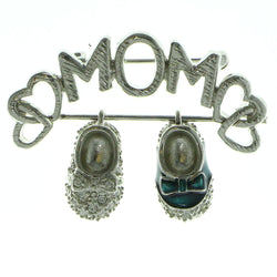 Mi Amore Mom Baby Shoes Brooch-Pin Silver-Tone & Blue