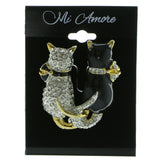 Mi Amore Backside Of Two Cats Brooch-Pin Gold-Tone/Black