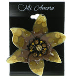 Mi Amore Flower Brooch-Pin Black/Yellow