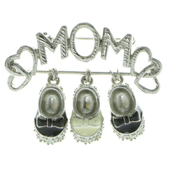 Mi Amore Mom Baby Shoes Brooch-Pin Silver-Tone & Black
