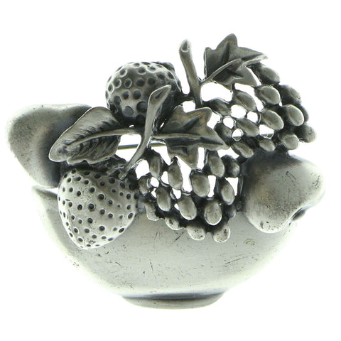 Mi Amore Fruit Bowl Brooch-Pin Silver-Tone