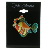 Mi Amore Fish Bubbles Brooch-Pin Silver-Tone & Multicolor