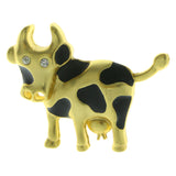Mi Amore Cow Brooch-Pin Gold-Tone/Black