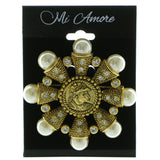 Mi Amore Renaissance Soldier Brooch-Pin Gold-Tone/White