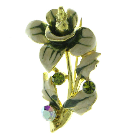 Mi Amore Flower Brooch-Pin Gold-Tone/Green
