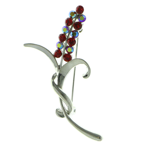 Mi Amore Brooch-Pin Silver-Tone/Red