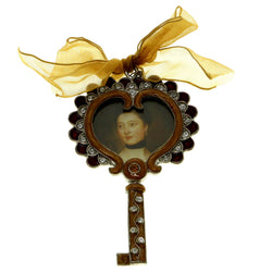 Mi Amore 1 3/4X2 1/2 Heart Key Picture-Frame Brown & Purple