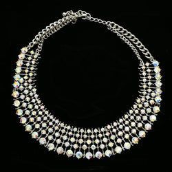Luxury Prizmatic Crystals Necklace Silver NWOT