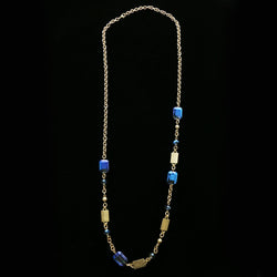 Luxury Faceted Necklace Gold/Blue NWOT