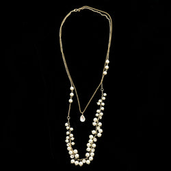 Luxury Pearls Crystal Necklace Gold & White NWOT
