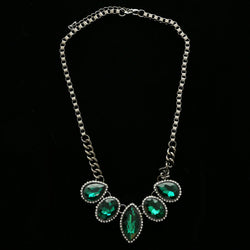 Luxury Crystal Necklace Gunmetal/Green NWOT
