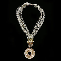 Luxury Crystal Necklace Silver/Brown NWOT