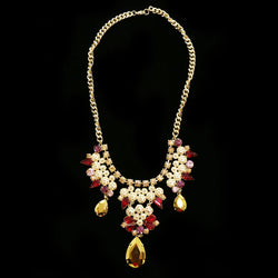 Luxury Crystal Necklace Gold/Red NWOT