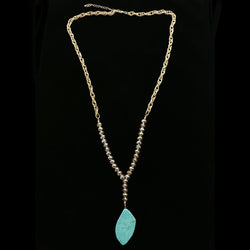 Luxury Semi-Precious Stone Y-Necklace Gold/Blue NWOT